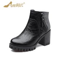 【冬季清仓】阿么韩版舒适粗跟女鞋绒里骑士靴女防水台高跟短靴子