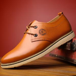 2017春季新款男鞋时尚英伦圆头系带休闲鞋单鞋皮鞋子商务休闲男士正装鞋子2195BBS支持货到付款