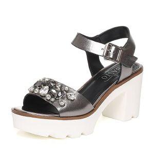 BASTO/百思图夏季专柜同款牛皮时尚粗高跟女凉鞋16B14BL6