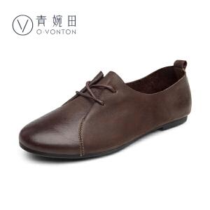 青婉田2017新款春鞋复古女鞋圆头系带单鞋女平底鞋舒适真皮手工鞋