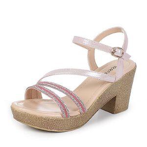 Teenmix/天美意夏季专柜同款山羊皮/织物性感细条带水钻女凉鞋6YB15BL6