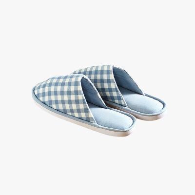 当当优品 纯棉日式水洗棉家居拖鞋 软底四季拖 包口款 格子款