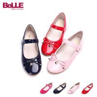 百丽童鞋儿童皮鞋系带蝴蝶结学生鞋舞蹈鞋DE0153