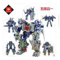 锦江儿童变形玩具机器人 星空救援队龙合体机神钢甲恐龙五合一