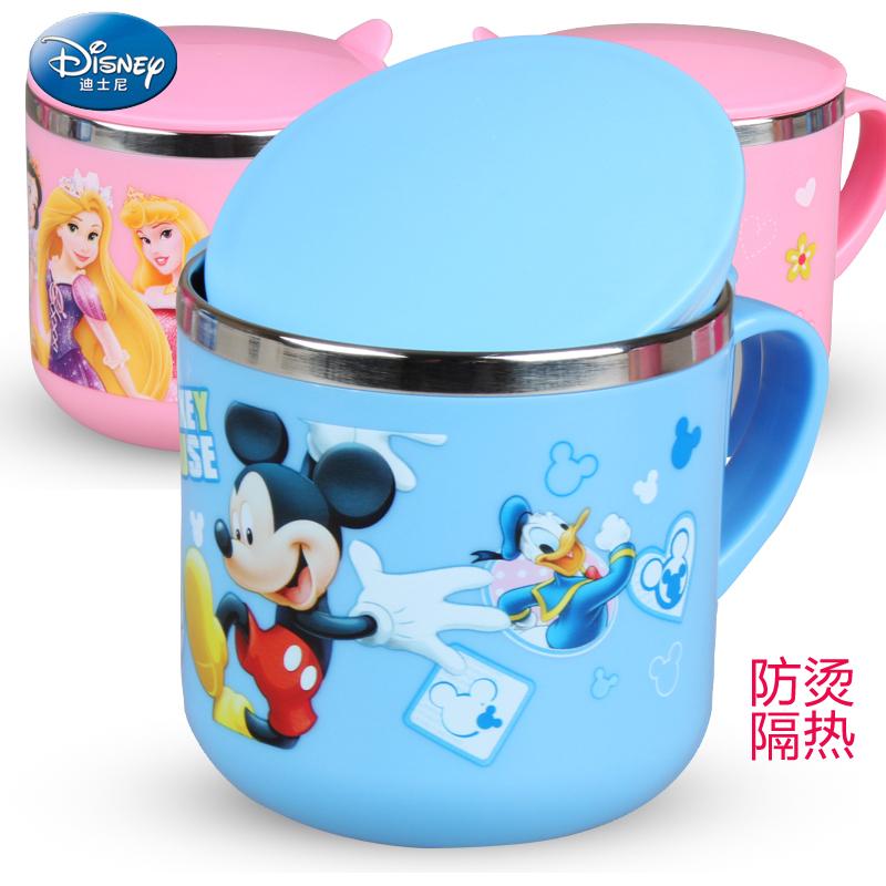 儿童水杯迪士尼不锈钢防摔口杯可爱卡通幼儿饮水杯宝宝喝水杯子