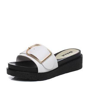 Belle/百丽2017夏舒适时尚拖鞋牛皮女皮凉鞋31202BT7