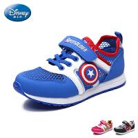 迪士尼童鞋2017年夏款网面鞋男女童单魔术贴慢跑鞋中童卡通运动鞋