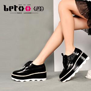 贝鸵春新真皮单鞋女松糕鞋漆牛皮厚底坡跟英伦系带女尖头鞋子0870