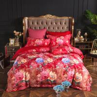 【包邮】伊迪梦家纺 60支贡缎长绒棉印花四件套 高支高密全棉简约1.8m双人床上用品被套床单套件LK4