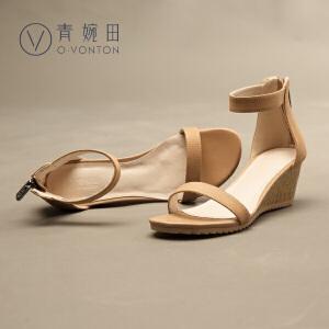 青婉田2017新款坡跟简约性感一字带露趾厚底凉鞋女夏高跟真皮女鞋