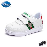 迪士尼童鞋17年夏季新品儿童板鞋宝宝魔术贴中童滑板鞋户外休闲鞋pu板鞋
