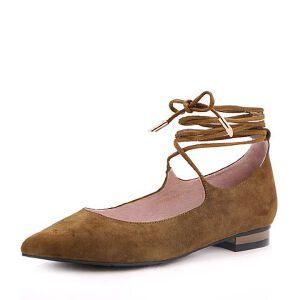 Belle/百丽2017秋时尚绑带羊绒皮/纺织品尖头女单鞋16162CQ7