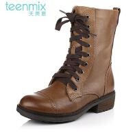 Teenmix/天美意专柜同款染擦色软牛皮女皮靴6JH64DZ3