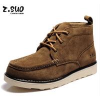 走索潮流男靴子男士棉鞋冬季工装靴英伦马丁靴男士短靴 高帮鞋 男