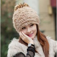 冬季帽子 女 韩版 潮 可爱 兔毛帽针织毛线帽秋冬天女士皮草帽子