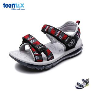 天美意童鞋儿童凉鞋2017夏季新款大童露趾气垫牛皮真皮男童沙滩鞋 DX0176
