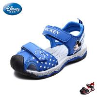 迪士尼童鞋儿童沙滩凉鞋2017夏季新款小童卡通米奇包头男童透气鞋DS2242