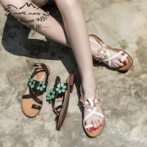 玛菲玛图 女士凉鞋2017新款女夏学生平跟甜美气质优雅复古皮带扣花朵凉拖鞋2611-3D