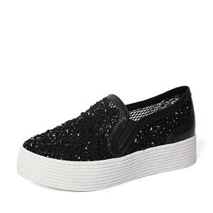 BASTO/百思图春季专柜同款牛皮/网布女休闲鞋16A51AM6
