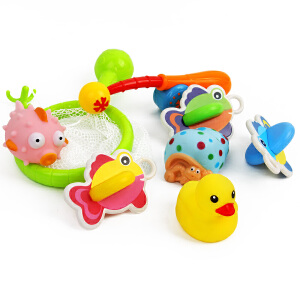 橙爱乐趣钓鱼套装 捞鱼沐浴戏水海洋生物捏捏叫婴幼儿童洗澡玩具