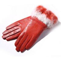 韩版獭兔毛海宁真皮手套女式保暖皮草短款皮手套