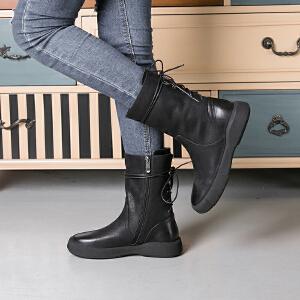 玛菲玛图秋冬欧美复古女靴子平底靴中筒靴系带马丁靴女机车靴大码女靴 009-15D秋季新品