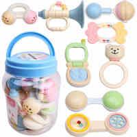 谷雨新生婴幼儿牙胶摇铃玩具0-3-6-12个月1岁宝宝益智罐装手抓握
