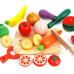 橙爱 水果蔬菜切切看木制磁性切切乐套装 男女孩过家家儿童认知益智玩具
