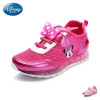 迪士尼童鞋儿童运动鞋2017春季新款小童网布透气休闲鞋女童跑步鞋