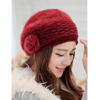 冬季帽子女冬天女士帽子秋冬贝雷帽兔毛帽子 韩版可爱时尚女帽  新款