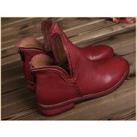 汇族美原创复古手工真皮女鞋马丁靴圆头女短靴牛皮马丁靴女式平底女靴特价清仓