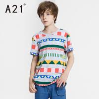 A21童装纯棉针织圆领短袖T恤 中大童休闲学院短装针织衫童装