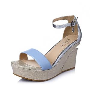 BASTO/百思图夏季专柜同款 绵羊皮革女皮凉鞋TG508BL6