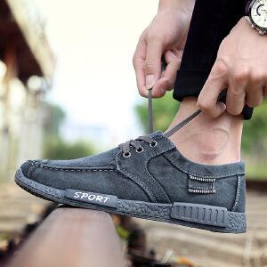 2017春季新款帆布鞋透气休闲男鞋韩版时尚学生鞋水洗牛仔布鞋W202DRJD支持货到付款