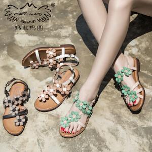 玛菲玛图 女夏凉鞋子2017新款百搭方根平底罗马鞋复古皮带扣套趾花朵凉拖鞋2611-1D