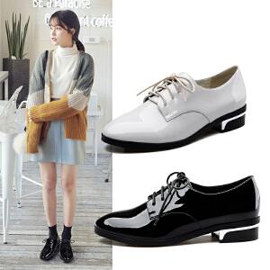 【17新品】阿么时尚漆皮舒适低跟单鞋韩版系带方跟小皮鞋圆头女鞋子