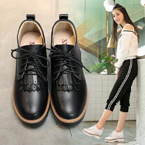 ZHR2017秋季新款真皮休闲鞋坡跟女鞋英伦风松糕鞋女厚底系带单鞋AH06