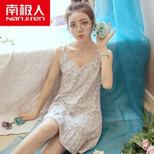 南极人韩版夏季吊带睡裙睡衣女士纯棉可爱卡通少女性感大码家居服