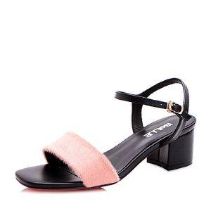 Belle/百丽2017夏知性优雅一字带羊毛皮/牛皮女凉鞋36401BL7