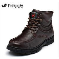 富贵鸟男鞋真皮高帮棉鞋加绒保暖短靴英伦工装靴日常休闲马丁靴