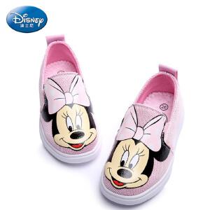 迪士尼童鞋2017年春秋女童旅游鞋儿童滑板鞋米妮帆布鞋 DS2214