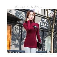 时尚韩版套头毛衣女中长款秋冬包臀显瘦打底毛衣裙