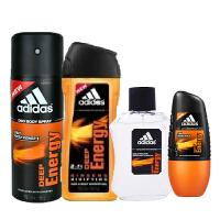 阿迪达斯男士四件套装喷雾150ML+沐浴露250ML+走珠50ML+香水100ML 能量