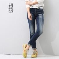 初语夏季新品  简约水洗磨白显瘦休闲牛仔裤女 8441815084
