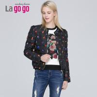 Lagogo/拉谷谷冬季新款修身印花短款超薄羽绒服女EDF430G218