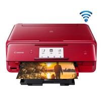 佳能TS8080彩色喷墨照片打印机手机一体机家用办公wifi三合一6色ID卡复印手机照片打印多功能连供打印红色