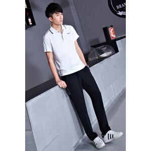 男士运动套装 夏季薄款T恤两件套宽松短袖长裤跑步服 翻领短袖T恤运动服