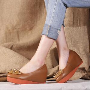 贝鸵单鞋女平底圆头浅口坡跟厚底松糕鞋真皮高跟女鞋 牛皮镶钻手工装饰
