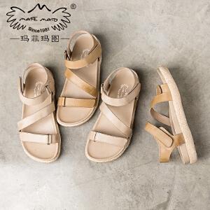 玛菲玛图 女士凉鞋新款夏天舒适中跟厚底罗马鞋百搭学生裸色魔术贴女皮凉拖 817-7D