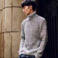 男士修身高领型男修身粗线百搭冬季毛衣套头高领线衫